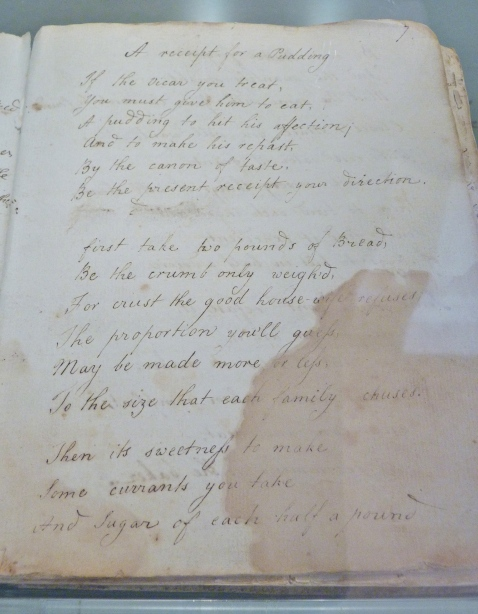 A Receipt for a Pudding in Rhyme from Martha Lloyd's Household Book ©Jane Austen's House Museum Blog